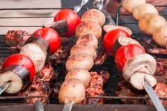 蕃茄,茄子,蘑菇,烘烤了在煤炭kebabs的土豆, souvlaki并且烤了在格栅的肉, entrecote,牛排, 库存照片