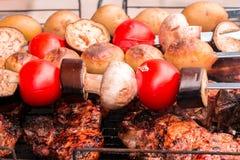 蕃茄,茄子,蘑菇,烘烤了在煤炭kebabs的土豆, souvlaki并且烤了在格栅的肉, entrecote,牛排, 免版税库存图片