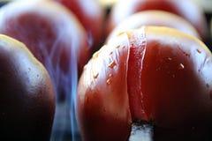 蕃茄&土豆 鲜美,可口,开胃,健康 木头被射击的格栅菜 烤菜 烹调在串 免版税库存照片