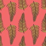 蕨的桃红色无缝的样式 免版税库存照片