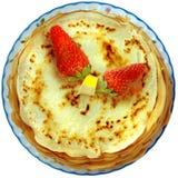 薄煎饼堆草莓 免版税图库摄影