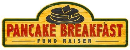 薄煎饼早餐募捐人标志商标艺术 库存例证