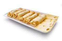 薄煎饼用乳酪在白色背景被隔绝 免版税库存照片
