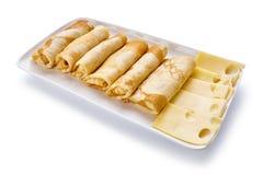 薄煎饼用乳酪在白色背景 库存照片