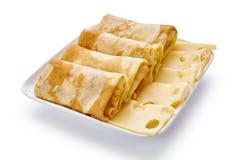 薄煎饼用乳酪在白色背景 图库摄影