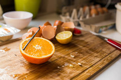 薄煎饼用桔子- candlemas 库存照片