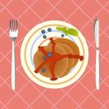 薄煎饼用蓝莓和枫蜜早餐,传染媒介 免版税库存图片