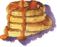 薄煎饼用蜂蜜或黄油 额嘴装饰飞行例证图象其纸部分燕子水彩 皇族释放例证