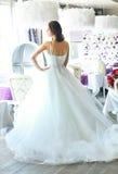 薄纱一套壮观的白色婚礼礼服的美丽的新娘有束腰的 免版税库存图片