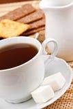 薄脆饼干杯子块糖茶 库存照片