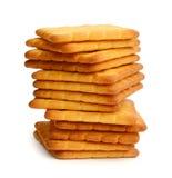 薄脆饼干查出的撒盐饼干白色 免版税库存图片