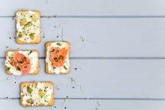 薄脆饼干用乳脂干酪、三文鱼、种子和绿色 在板材的开胃菜在灰色桌上 健康快餐,顶视图,平的位置 免版税库存照片