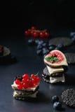 黑薄脆饼干用乳酪和莓果 免版税库存图片