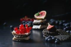 黑薄脆饼干用乳酪和莓果 图库摄影