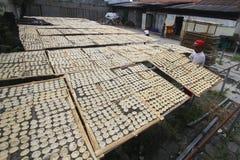 薄脆饼干的生产 免版税库存照片