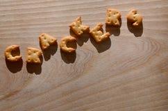 薄脆饼干 可食的信件 库存图片