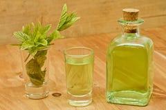 薄荷植物、利口酒瓶和射击 库存图片