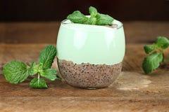薄荷的巧克力Chia种子布丁 图库摄影