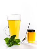 薄荷的茶和蜂蜜 库存照片