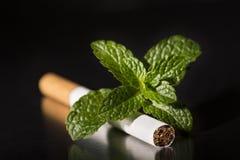 薄荷的香烟,特写镜头的末端 库存照片