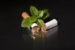 薄荷的香烟,特写镜头的末端 免版税图库摄影