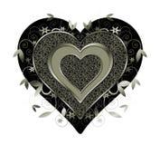 薄菏色的金属心脏和漩涡在白色 图库摄影