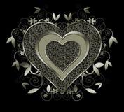薄菏色的金属心脏和漩涡 库存照片