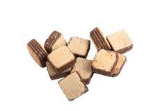 薄酥饼在白色背景的巧克力孤立 免版税图库摄影