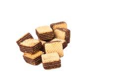 薄酥饼在白色背景的巧克力孤立 库存图片