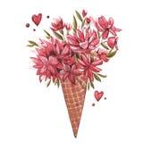 薄酥饼锥体的水彩例证开花,夏天印刷品,冰淇凌 水彩桃红色套元素为 皇族释放例证
