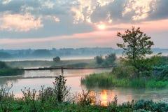 薄雾河 库存图片