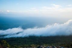 薄雾的流程在山的, Phukradung国家公园,泰国 库存照片