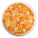 薄饼从顶层的quattro formaggi 免版税库存图片