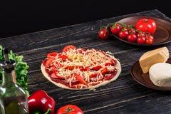 薄饼准备的未加工的面团与成份:西红柿酱,无盐干酪,蕃茄,蓬蒿,橄榄油,乳酪,香料 免版税库存图片