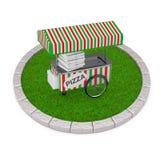 薄饼在密集的绿草圆的剧情的台车推车  3d烈 免版税库存图片