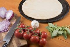 薄饼基地围拢用大蒜、蕃茄、葱、橄榄油和蓬蒿 免版税库存照片