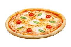 薄饼玛格丽塔用无盐干酪乳酪、蓬蒿和蕃茄,您的设计的模板和菜单餐馆,隔绝了白色背景 库存照片