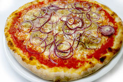 薄饼金枪鱼和onionmozzarela意大利食物薄饼,火腿采蘑菇橄榄 免版税库存照片