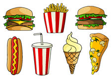 薄饼,汉堡,热狗,炸薯条,冰淇凌 免版税库存照片