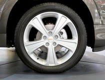 薛佛列商标在轮子的 免版税库存图片