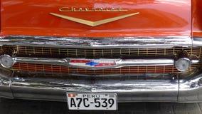 1957年薛佛列贝莱尔轿车的格栅,利马,秘鲁 免版税库存照片