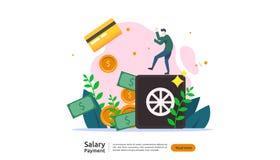 薪金付款概念 工资单、每年奖金、收入、支出与纸计算器和人字符 网登陆的页 库存例证