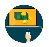 薪水每个网行销的点击平的概念 库存图片