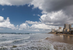 击薯类海滩,以色列,全景 免版税库存图片