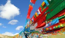 藏传佛教旗子的五种颜色  免版税库存图片