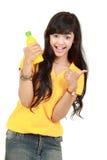 藏品汁液橙色微笑的妇女 图库摄影