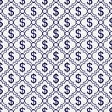 藏青色和白色美元的符号样式重复背景 免版税库存照片