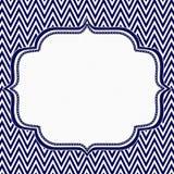 藏青色和白色雪佛之字形框架背景 库存照片
