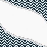藏青色和白色雪佛框架有被撕毁的背景 免版税库存照片