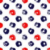 藏青色红色和白色难看的东西圈子刷子抚摸几何无缝的样式,传染媒介 库存照片